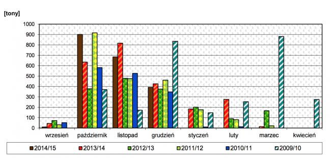 Wielkość skupu chmielu w poszczególnych sezonach w podziale na miesiące